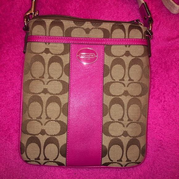 Coach Handbags - COACH PINK TAN BROWN CROSS BODY BAG